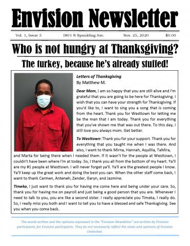 Envision Newsletter, Thanksgiving edition