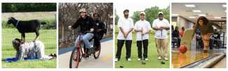 Envision members participating in various activities, yoga, biking, golfing, and bowling.